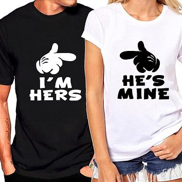 He'S Mine I'M Hers Couples Graphic Tee Shirt
