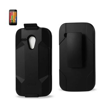 New Motorola Moto G Hybrid Heavy Duty Holster Combo Case In Black By Reiko