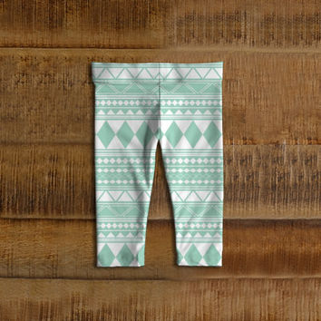 Mint Green Tribal Baby Leggings, Toddler Leggings