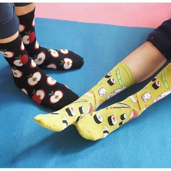 Adult Size 1lot=4pairs Unisex Crew Socks KAWAII FOOD Omelette Fruit Sushi Doughnut Salmon Avocado Cupcake Shrimp Octopus Toast