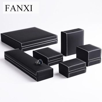 FANXI  Black PU Leather Jewellery Gift Box Crapped with Plush Ring Pendant Necklace Bracelet Packing Boxes Jewelry Shop