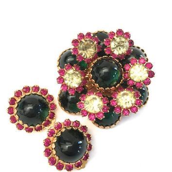 Big Holiday Sale Layered Brooch and Earring Demi, Domed Emerald Green Glass Cabochons, Fuchsia and Jonquil Rounds, Fleur de Lis, Gold Tone