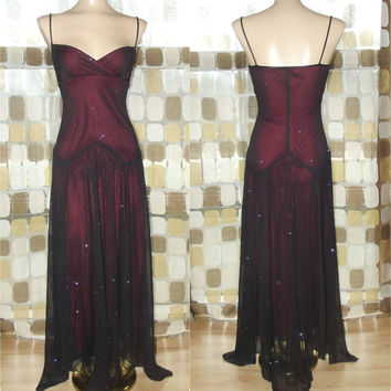 Vintage 90s Retro 30s Black & Red Sheer Sparkle Illusion Party Dress Cocktail Gown Flapper Gatsby S/M