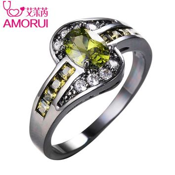 AMORUI Vintage Gold Black Color Oval Olive Green CZ Wedding Rings for Women/Men Jewelry Birthstone Engagement Ring Bijoux Gift
