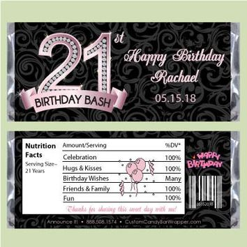 Diamond 21st Birthday Candy Bar Wrapper