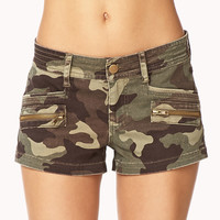 Camo Denim Shorts