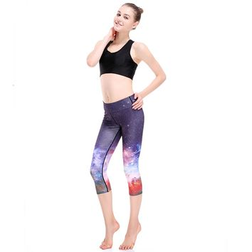 Blue Galaxy Space Print Yoga Pants