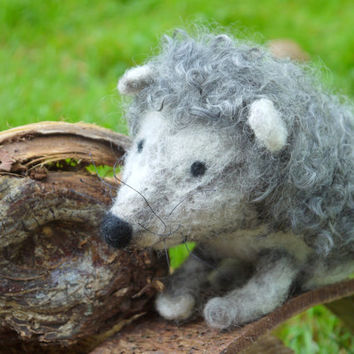 needle felt hedgehog. Needlefelted animal. Soft sculpture hedgehog. Super soft felted hedgehog. Wool felted animal. Wool felted hedgehog.
