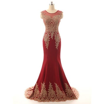 New charming  wine red prom dress 2017 handmade gold embroidrey prom party dress long mermaid dress satin evening dress prom dresses