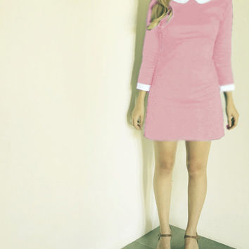 1960's dress pink peter pan collar dress SUZY BISHOP HALLOWEEN costume