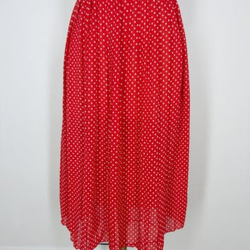 Vintage Polka Dot Skirt / Cherry Red and White / High Waisted / Midi Length Accordion Pleated / 1980s 80s / Size Medium M Large L