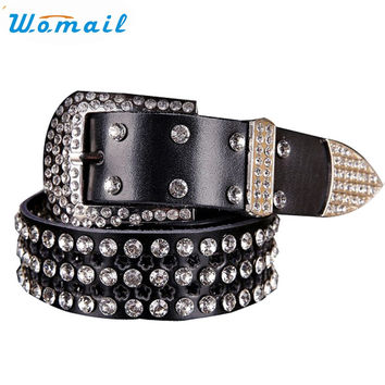 Womail Newly Design Western Cowgirl Bling Rhinestone Flower Faux Leather Pin Buckle Betl Wasit Strap  161209 Drop Shipping