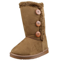 Womens Mid Calf Boots Fur Lined Side Button Winter Comfort Flat Shoes Tan SZ