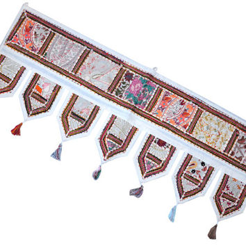 "38x14"" Indian Handmade Decorative door valance window pelmet tooper patchwork Embroidered Window Valance Toran Door Hanging Ethnic Art Gift"