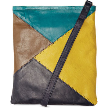 TOMS Indigo Diagonal Seamed Leather Voyager Crossbody