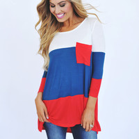 Ivory/Teal/Red Color Block Tunic
