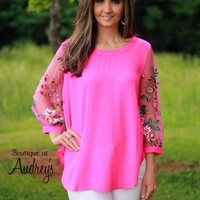 Umgee Hot Pink Top with Sheer Embroidered Sleeves - Boutique At Audrey's