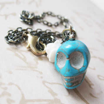 Day Of The Dead Necklace - Dia De Los Muertos Teal Blue Skull Necklace With White Rose Flower - Luisita