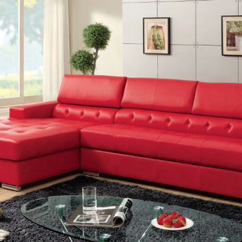 Furniture of america CM6122RD 2 pc Floria red bonded leather sectional sofa with adjustable headrests