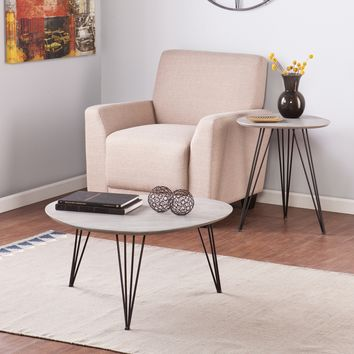 Bannock 2 Piece Coffee End Table Set Matte Gray