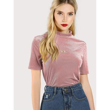 Pink Cut Out Embroidered Front Striped Velvet Tee