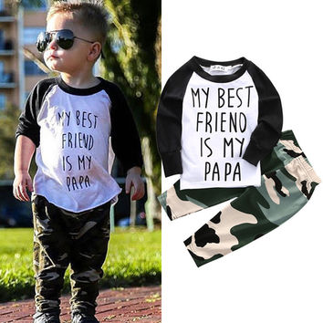 2pcs Newborn Infant Baby Boy Girl Clothes T-shirt Tops+Pants Legging Outfits Set