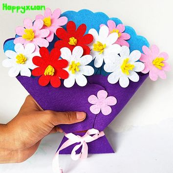 Happyxuan 5pcs Kids DIY Bouquet Flower Kits Handmade Art And Craft Kindergarten Felt Fabric Toy Thanks Giving Day Teacher's Gift