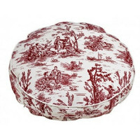 MicroVelvet Super Soft Round Dog Bed — Raspberry Red Toile
