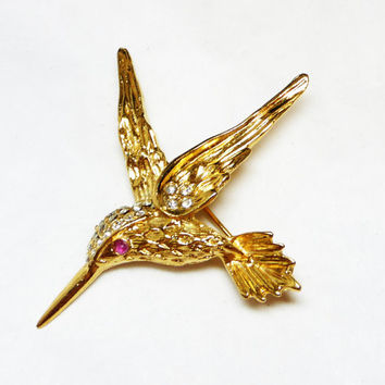 Gold Plated Hummingbird Brooch - 14K GF Bird Pin with Rhinestones - Designer Signed DM Lind