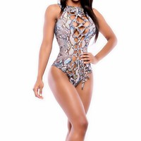 Bandage Swimwear Monokini Women Snake One-piece  Snakeskin Bodysuit Hollow Out Swimsuit