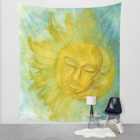 Sun an Moon Watercolor Painting Wall Tapestry by Riet8995