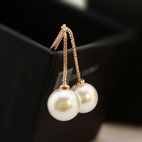 Dangling Pearl Tassel Statement Earrings