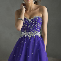 Short Strapless Homecoming Dress by Mori Lee 9240