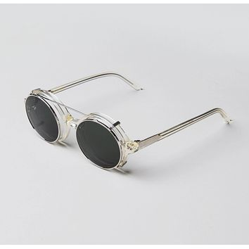 Han Kjobenhavn - Doc Clip On 47mm Champagne Sunglasses / Black Lenses