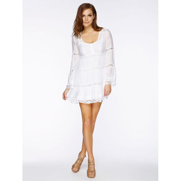 White Lace Long Sleeve Babydoll Dress (GUESS)