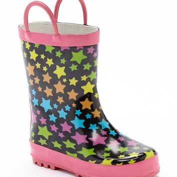 Chatz by Chatties Black & Pastel Star Rain Boot | zulily