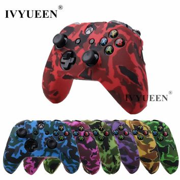 IVYUEEN Silicone Protective Skin Case for XBox One X S Controller Protector Water Transfer Printing Camouflage Cover Grips Caps