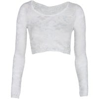 White Long Sleeved Lace Crop Top