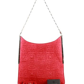 New Versace #GREEK red suede leather shoulder bag