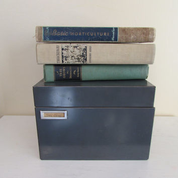Vintage Gray Metal Card File Box | office storage | industrial decor | desk accessories | industrial office | mid century