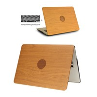 WOOD GRAIN  Leather Laptop Cases for apple MacBook