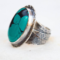 Turquoise ring, Turquoise sterling silver ring, Gemstone silver ring, Silversmith jewelry, Wide silver ring, Handmade artisan silver jewelry
