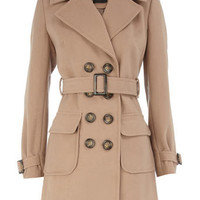 Camel belted trench coat - Coats - Clothing - Dorothy Perkins
