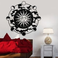 Vinyl Wall Decal Moon Cycle Sun Art Decor Cosmos Stars Planets Stickers Unique Gift (1309ig)