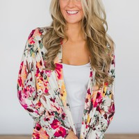 Everyday Fun Cardigan - Miami Floral Ivory