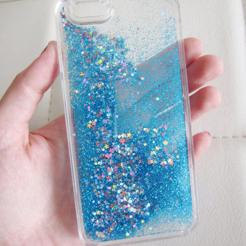 iPhone 6 case clear liquid glitter hipster star iridescent geometric sequins floating liquid waterfall quicksand phone case US seller