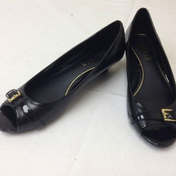 Ralph Lauren Madison Black Leather Open Toe Wedge Heels Shoes Women's 8.5 M