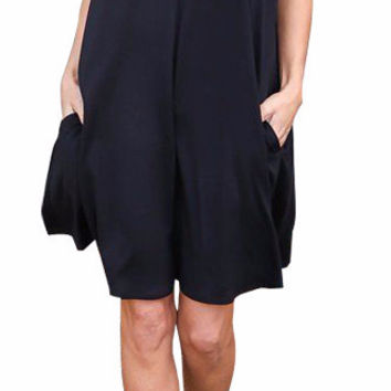 Women's Casual Black V-Neck Loose Shift Summer Dress with Pockets