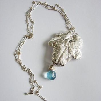 Bridal Jewelry. Silver Leaf Necklace. Statement Jewelry. Silver Leaf Blue Teardrop Necklace.