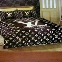 4 piece Luxury Designer Vuitton Monogram silk bedding set